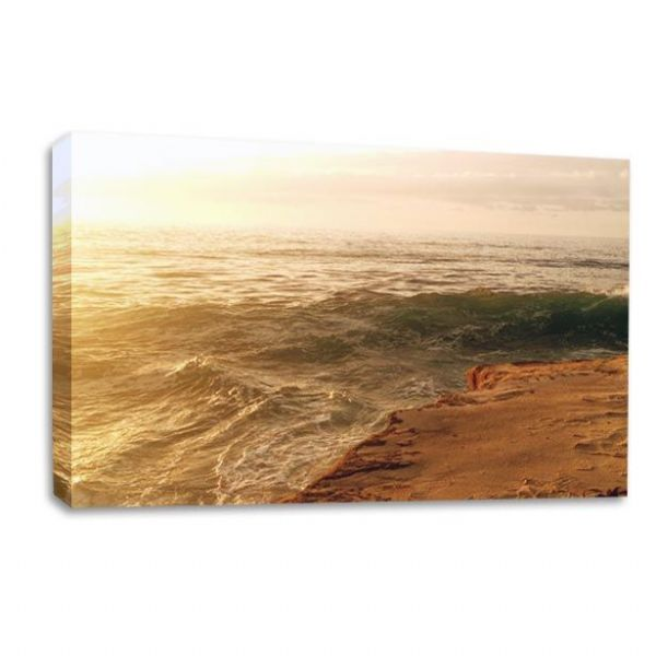 Sunset Seaside Canvas Wall Art Picture Beach Waves Ocean Print